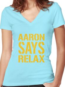 Aaron Says Relax - Green Bay Women's Fitted V-Neck T-Shirt
