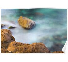 misty water spray and rocks Poster