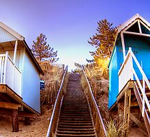 Two Beach Huts  by Hilary Robertshaw