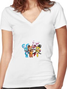 Five nights at freddy's (Chibi) Women's Fitted V-Neck T-Shirt