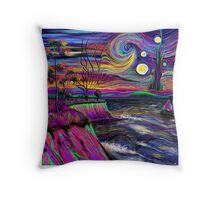 Psychedelic landscape Throw Pillow