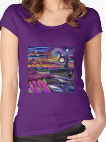 Psychedelic landscape Women's Fitted Scoop T-Shirt