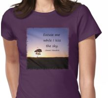 Lonely tree silhouette on open field at sunset  Womens Fitted T-Shirt