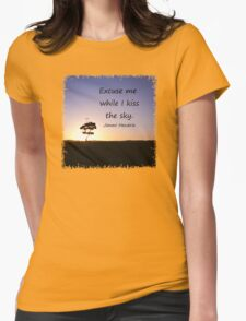 Lonely tree silhouette on open field at sunset  T-Shirt
