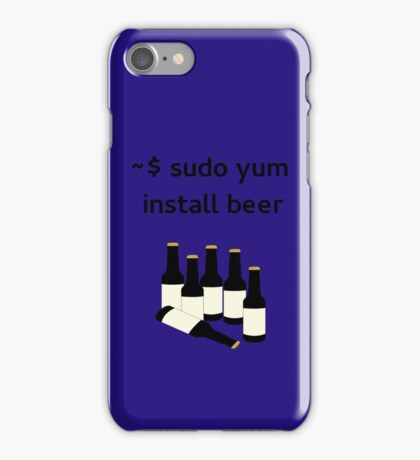Linux sudo yum install beer iPhone Case/Skin
