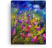 purple wild bellflowers Canvas Print