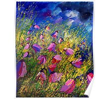 purple wild bellflowers Poster