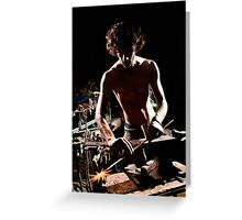 Old style manual labour Blacksmith  Greeting Card