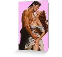 Romance novel Couple clinch Greeting Card