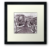 Memories of Odessa City black and white pen ink drawing  Framed Print