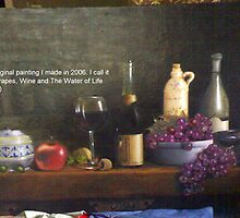 Still Life Of Grapes, Wine and The Water Of Life (Eau De Vie) (Original) (Oil On Canvas) by life4paint