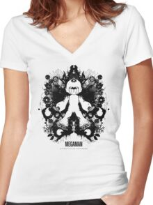 Megaman Nintendo Geek Psychological Diagnosis Ink Blot Women's Fitted V-Neck T-Shirt