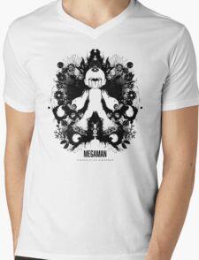 Megaman Nintendo Geek Psychological Diagnosis Ink Blot Mens V-Neck T-Shirt