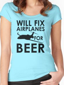 Will Fix Airplanes for Beer, Black text Women's Fitted Scoop T-Shirt