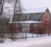 Barn covered in snow by Jellybean720