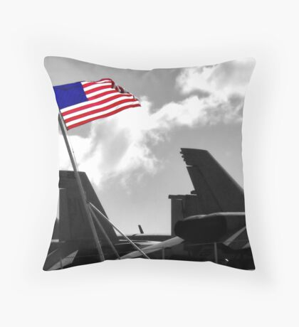 We Come in Peace - USS Kitty Hawk Throw Pillow