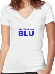 my main is a blue mage Women's Fitted V-Neck T-Shirt