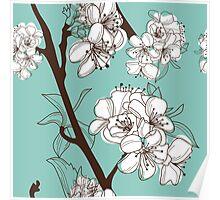 Blue Floral # 2 Poster
