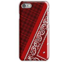 Red Tartan Bandana iPhone Case/Skin
