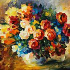 NIGHT ROSES by leonid afremov