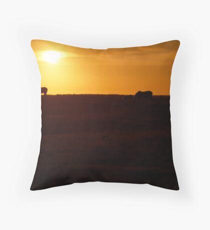 Horses at Sunset Throw Pillow