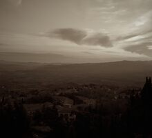 Tuscan sunset in sepia by Ashley Ng