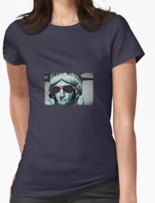 Statue of Elvis Womens Fitted T-Shirt