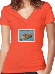 "Delivering ""foreign aid"", from the series #FastFoodTurfWar by Tim Constable Women's Fitted V-Neck T-Shirt"