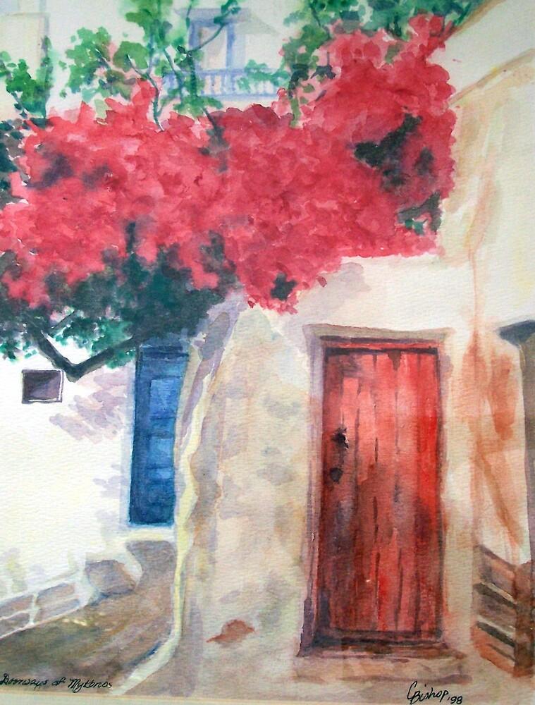 Doorways of Mykonos by Carolyn Bishop