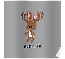 Cute Jackalope -  Austin, Texas Poster
