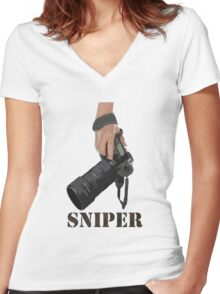 Sniping - photographer-style! Women's Fitted V-Neck T-Shirt