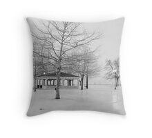 Ontario Beach Park in Black and White Throw Pillow