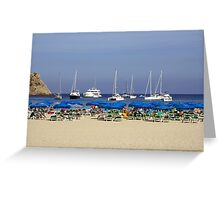Yachts and Beach Umbrellas Greeting Card
