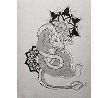 Dragon with Mandala Original Drawing Photographic Print