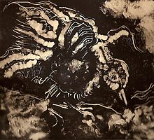 The Raven (Monoprint)-  by Robert Dye