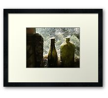Old Green Bottles on the wall - Mitchells Gully - New Zealand Framed Print