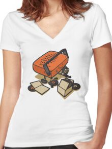 Record Eater Women's Fitted V-Neck T-Shirt