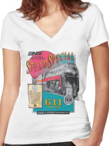 NORFOLK & WESTERN #611 STEAM SPECIAL Women's Fitted V-Neck T-Shirt