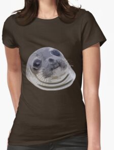 Awkward Seal Womens Fitted T-Shirt