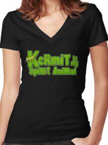 Kermit is my spirit animal Women's Fitted V-Neck T-Shirt