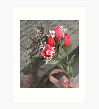 Roses left at the Wall Art Print