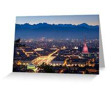Turin (Torino), panorama at night Greeting Card