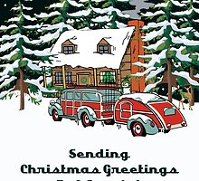 Aunt & Her Fiance Sending Christmas Greetings Card by Gear4Gearheads