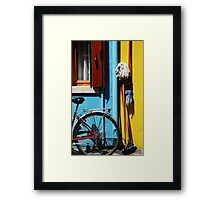 belongings being bicycles brooms and brushes  Framed Print