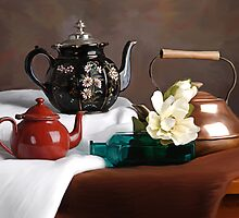 Teapots Still Life by Teddie McConnell