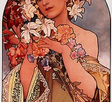'Flowers' by Alphonse Mucha (Reproduction) by Roz Abellera Art