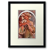 'Flowers' by Alphonse Mucha (Reproduction) Framed Print