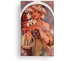 'Flowers' by Alphonse Mucha (Reproduction) Canvas Print