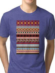Floral Knitting Pattern Tri-blend T-Shirt