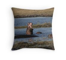 Territorial Hippo Throw Pillow